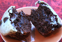 Black Bottom Cupcakes halved