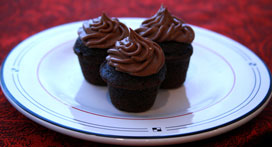 Mini Sour Cream Chocolate-Cupcakes